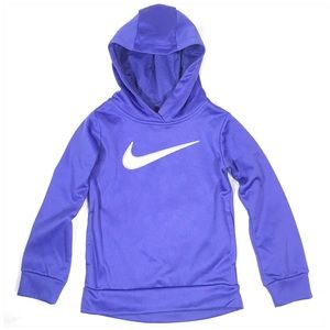 Nike Girls Therma Hoodie in Purple Silver Glitter